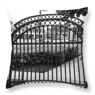 Royal Palm Gate Throw Pillow by Rob Hans