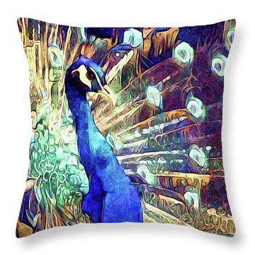 Royal Peacock Throw Pillow