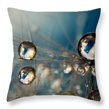 Royal Sea Blue Drops Throw Pillow by Sharon Johnstone