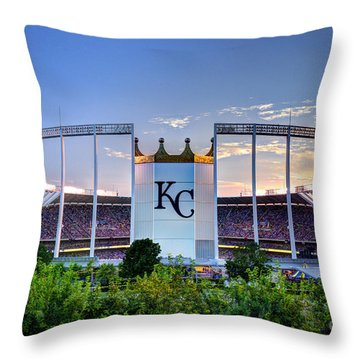 Royals Kauffman Stadium  Throw Pillow by Jean Hutchison