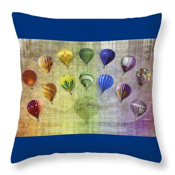 Throw Pillow featuring the digital art Roygbiv Balloons by Melinda Ledsome