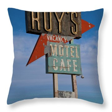 Throw Pillow featuring the photograph Roy's Motel Cafe by Matthew Bamberg