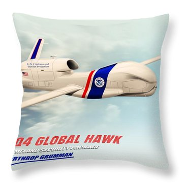 Rq4 Global Hawk Drone United States Throw Pillow by John Wills