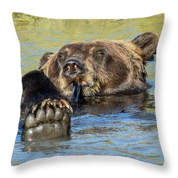 Rub A Dub Dub A Bear In His Tub Throw Pillow