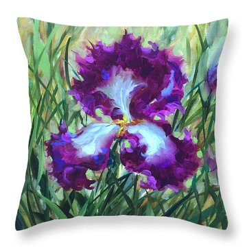 Ruby Dancer Purple Iris Throw Pillow by Nancy Medina