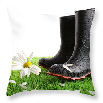 Rubber Boots With Daisy In Grass Throw Pillow