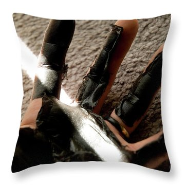 Throw Pillow featuring the photograph Rubber Hand by Micah May