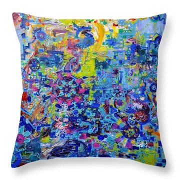 Rube Goldberg Abstract Throw Pillow by Regina Valluzzi