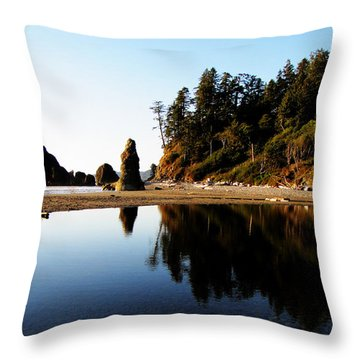 Ruby Beach Reflections Throw Pillow