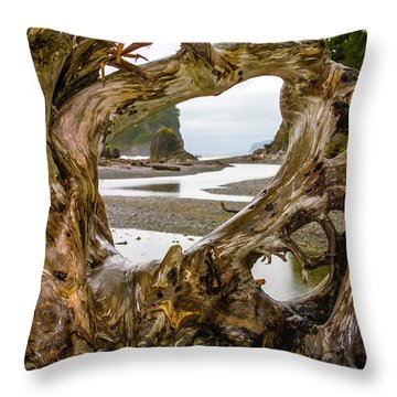 Ruby Beach Driftwood 2007 Throw Pillow