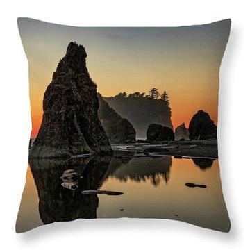 Ruby Beach At Sunset Throw Pillow