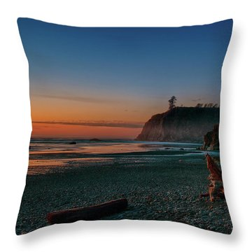 Throw Pillow featuring the photograph Ruby Beach Sunset by Mary Jo Allen