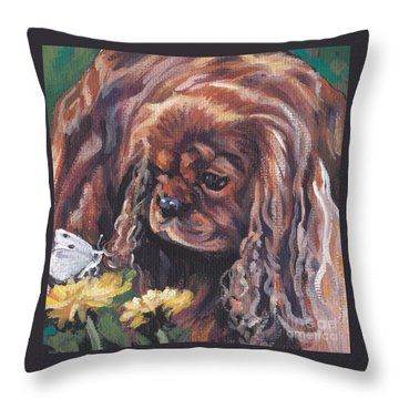 Throw Pillow featuring the painting Ruby Cavalier King Charles Spaniel by Lee Ann Shepard