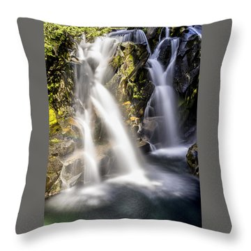 Ruby Creek Lower Falls Mt Rainier Throw Pillow