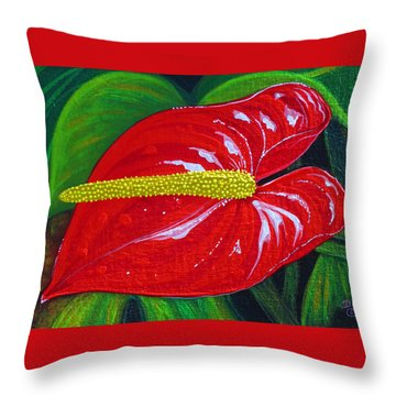 Throw Pillow featuring the painting Ruby Holiday by Debbie Chamberlin