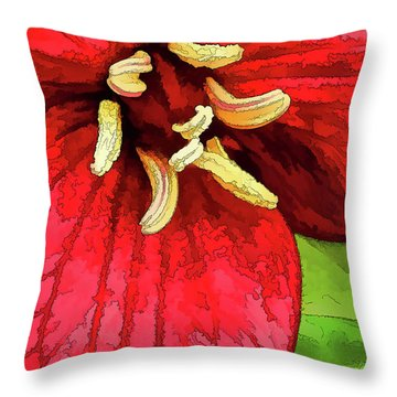 Ruby Red Trillium Throw Pillow