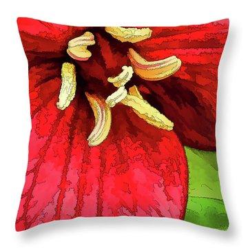 Ruby Red Trillium Throw Pillow