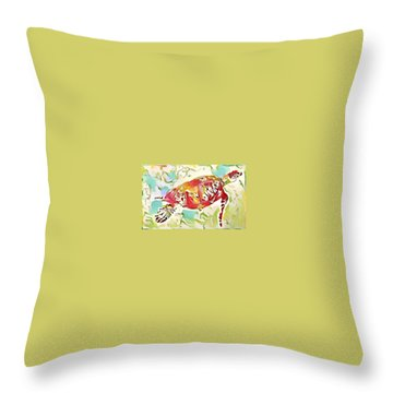 Throw Pillow featuring the digital art Ruby The Turtle by Erika Swartzkopf