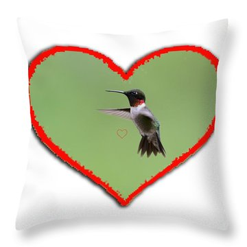Ruby-throated Hummingbird In Heart Throw Pillow