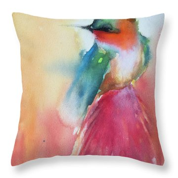 Ruby Throated Hummingbird On A Red Hot Poker Flower Wip Throw Pillow