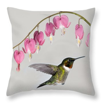 Throw Pillow featuring the photograph Ruby-throated Hummingbird With Bleeding Hearts by Lara Ellis