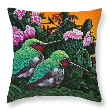 Ruby-throated Hummingbirds Throw Pillow