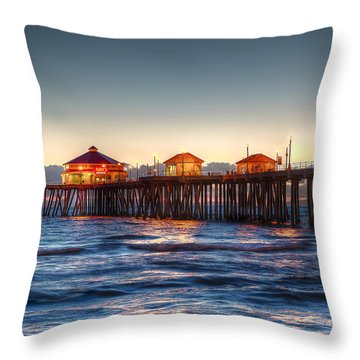 Throw Pillow featuring the photograph Ruby's Surf City Diner At Twilight - Huntington Beach Pier by Jim Carrell