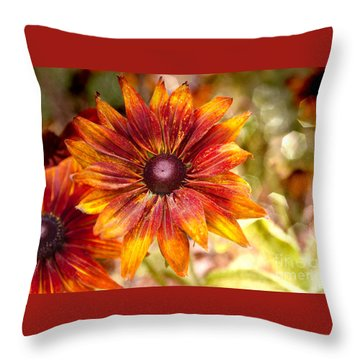 Rudbeckias With Sparkly Bokeh Throw Pillow