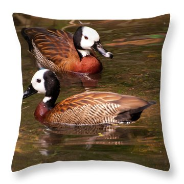 Throw Pillow featuring the digital art White-faced Whistling Duck by Chris Flees