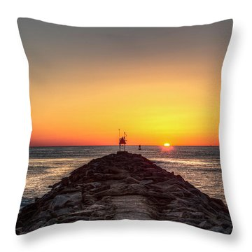 Rudee Inlet Jetty Throw Pillow