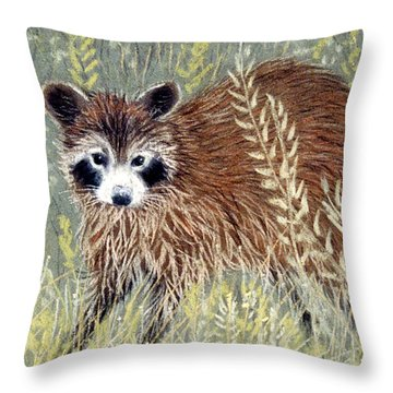 Throw Pillow featuring the pastel Rudie by Jan Amiss