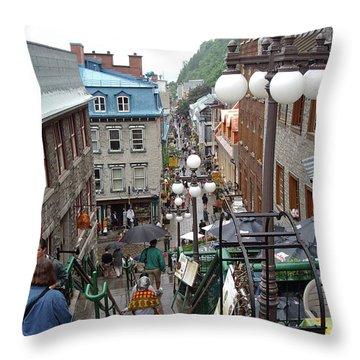 Throw Pillow featuring the photograph rue du Petit Champlain by John Schneider