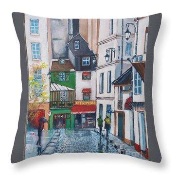 Rue Galande, Paris Throw Pillow