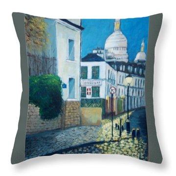 Rue Norvins, Paris Throw Pillow
