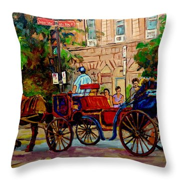 Rue Notre Dame Montreal Throw Pillow by Carole Spandau