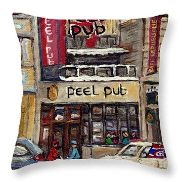 Rue Peel Montreal Winter Street Scene Paintings Peel Pub Cafe Republique Hockey Scenes Canadian Art Throw Pillow