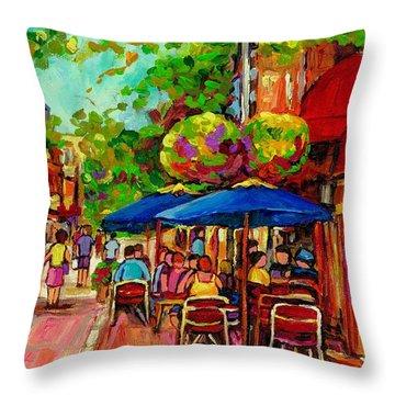 Rue Prince Arthur Montreal Throw Pillow