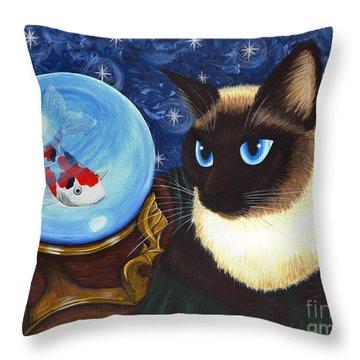 Rue Rue's Fortune - Siamese Cat Koi Throw Pillow