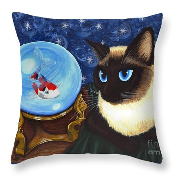 Throw Pillow featuring the painting Rue Rue's Fortune - Siamese Cat Koi by Carrie Hawks