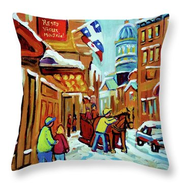 Rue St Paul Montreal Streetscene Cafes And Caleche Throw Pillow