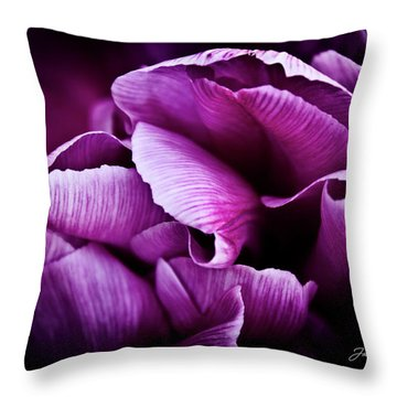 Ruffled Edge Tulips Throw Pillow by Joann Copeland-Paul