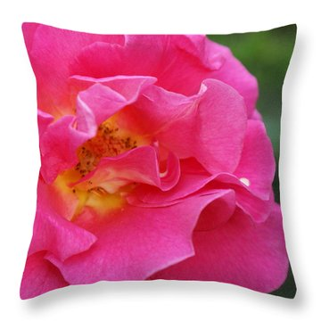 Ruffles In Pink Throw Pillow by Jacqueline Russell