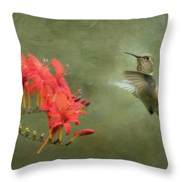Throw Pillow featuring the photograph Rufous Hummingbird And Crocosmia by Angie Vogel