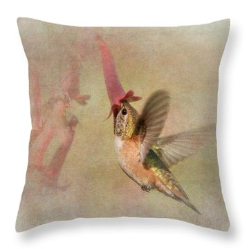Throw Pillow featuring the photograph Rufous Hummingbird In Cape Fuchshia by Angie Vogel
