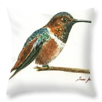 Rufous Hummingbird Watercolor Throw Pillow