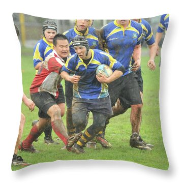 Rugby In The Mud Throw Pillow