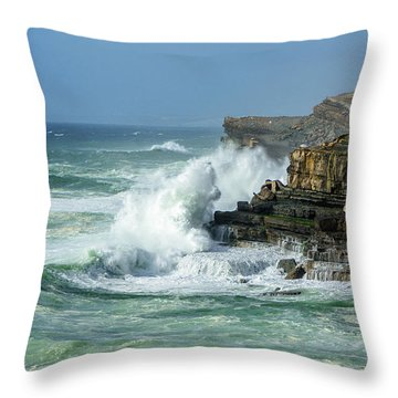 Rugged Coastal Seascape Throw Pillow