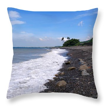Throw Pillow featuring the photograph Rugged Coastline In Taiwan by Yali Shi