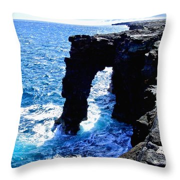 Throw Pillow featuring the photograph Rugged Kona Sea Arch by Amy McDaniel