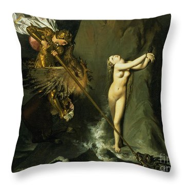 Ruggiero Rescuing Angelica Throw Pillow by Ingres